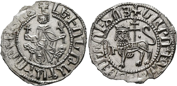 Cilician coinage, like this silver tram issued by King Levon I, will be presented by Levon Saryan