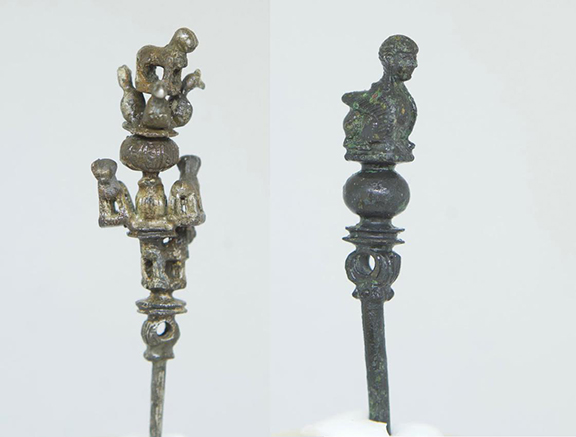 Detail of miniature bronze hair pin sculptures, dating back to 700 BC from the Urartu kingdom