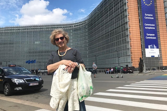 Catherine Yesayan in front of the building of European Commission, which is near the Hay Taad office