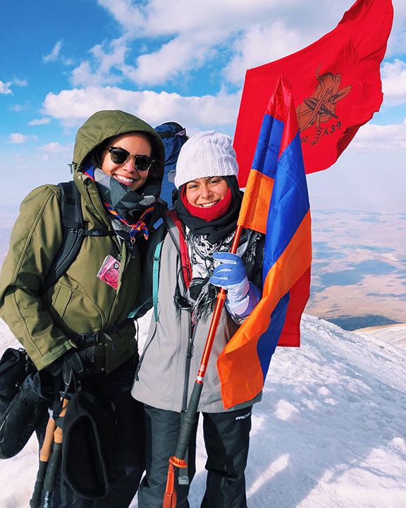 The author and a fellow expedition participant atop Ararat's summit