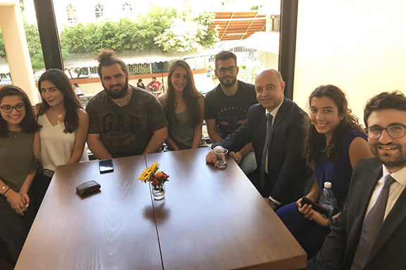 President Dr. Paul Haidostian with students in the newly renovated cafeteria