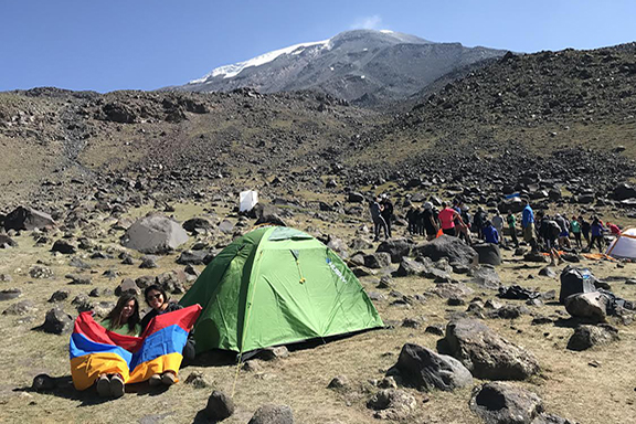 A scene from a rest break at Base Camp 1