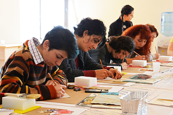 New Illuminations artists participate in a writing workshop (Photo by Knar Babayan)
