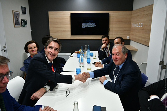Representatives of Thales Group with President Sarkissian