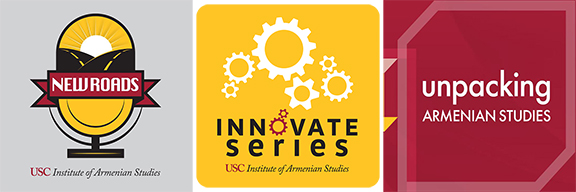 """The podcasts currently available online include: """"New Roads,"""" """"Unpacking Armenian Studies, and"""" the """"Innovate Series"""""""