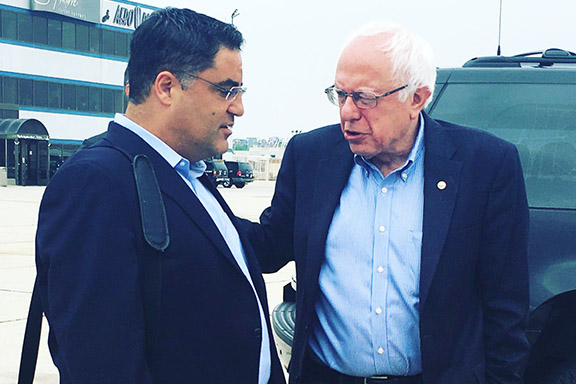 Sen. Bernie Sanders (right) with Cenk Uygur ahead of a rally in 2016