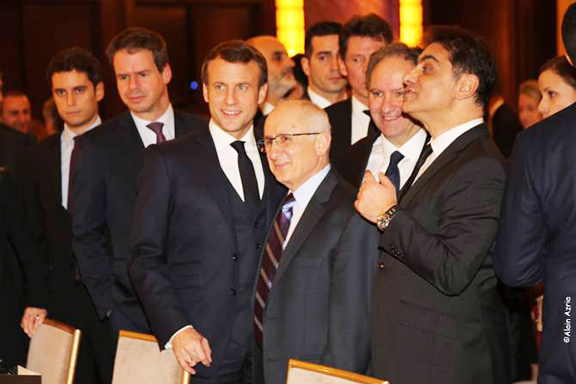President Emanuel Macron with Prof. Taner Akcam and CCAF co-chairs Mourad Papazian and Ara Tornian