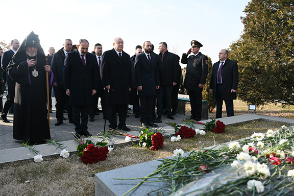 President Armen Sarkissian and Prime Minister Nikol Pashinyan are joined by other officials at Yerablur National Cemetery to marked Armed Forces Day