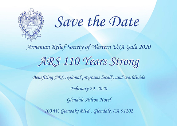 The Armenian Relief Society of Western USA's Gala 2020 is set for Feb. 29