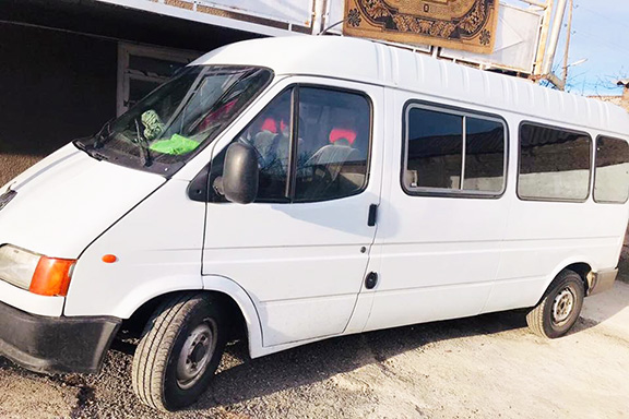 The microvan purchased by the All-ASA for students who walk 3 miles to school in Medovka