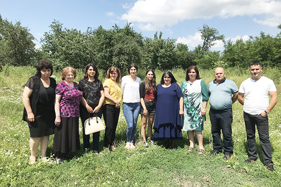 Former All-ASA President and current Senior Advisor, Ripsime Biyazyan with Suzanna Avdalyan and other staff from Medovka school, July 2019