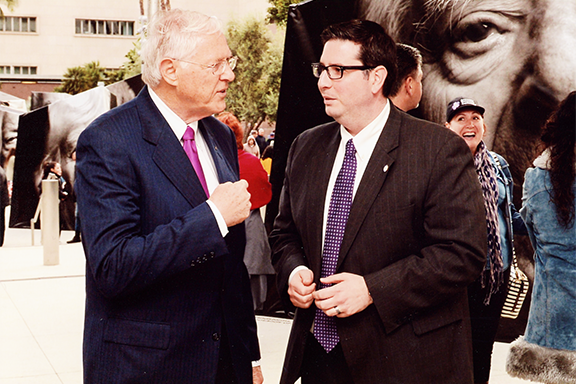 Former LA County Supervisor Mike Antonovich (left) with Glendale City Council candidate Ardy Kassakhian