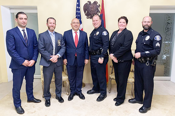 Ambassador Baibourtian with Glendale police officers