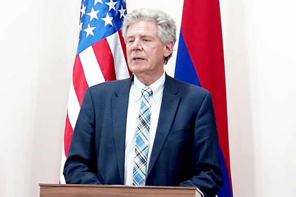 Congressional Armenian Caucus Co-Chair Frank Pallone (D-NJ) addressing Republic of Artsakh parliamentarians during his latest visit in October, 2019