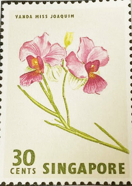 A postage stamp created in honor of Agnes Joaquim (Ashkhen Hovakimian) who cultivated a hybrid orchid lower which became the national symbol of Singapore. Vanda Miss Joaquin, 1981