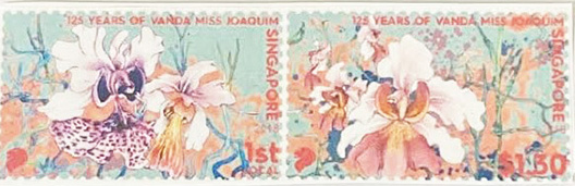 Singapore released this postage stamp to commemorate 125 years of the Vanda Miss Joaquim