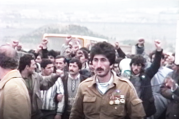 Protesters on the streets of Sumgait, 1988