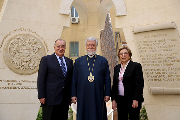 Aleevo and Annie Bezilkian with His Holiness Aram I, Catholicos of the Great House of Cilicia