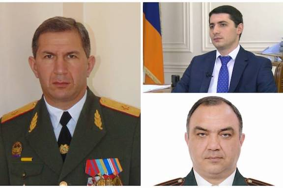 Onik Gasparyan, the new Armed Forces Chief of Staff (left). Argishti Kyaramyan the newly-appointed Director of National Security Service (top right) and Armenia's new police chief Vahe Ghazaryan