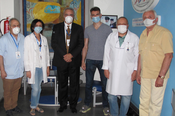 ABMDR staff members with the special international courier (fourth from left) at ABMDR's Stem Cell Harvesting Center, in Yerevan.