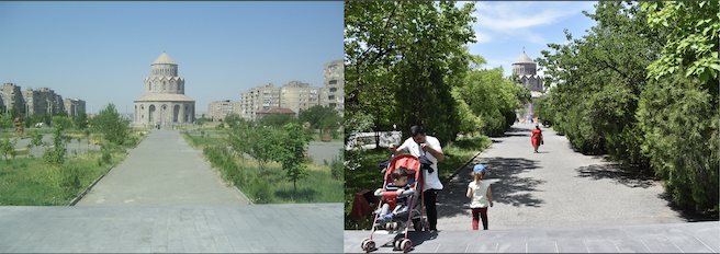 Before and after photos of one of ATP's urban sites, the Holy Trinity Church in Yerevan's densely populated Malatia Sepastia district