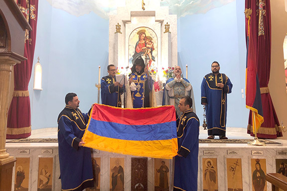 Western Prelate Archbishop Moushegh Mardirossian presides over the blessing of the Armenian flag at St. Garabed Church in Hollywood on May 31