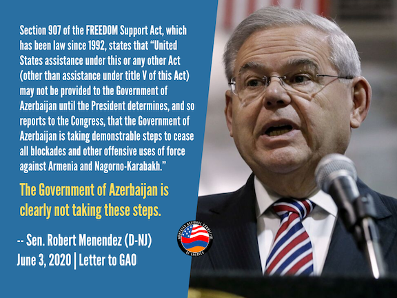 """Senate Foreign Relations Committee Ranking Democrat Robert Menendez (D-NJ) has called on the Government Accountability Office to investigate """"skyrocketing"""" U.S. military assistance to the Aliyev regime and whether it complies with Section 907 restrictions on U.S. aid to Azerbaijan."""