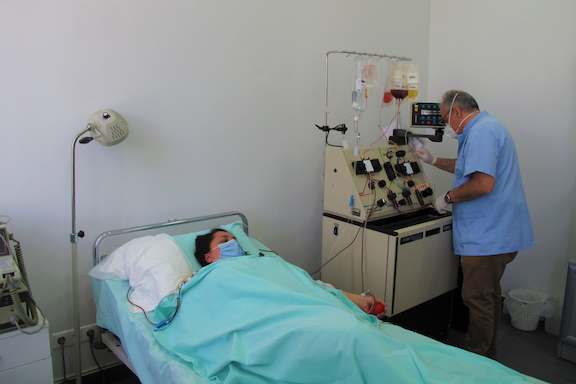 A scene from the stem cell harvesting procedure.