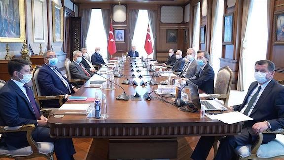 Turkish President Recep Tayyip Erdogan chairs a meeting of his High Advisory Committee to plan a crackdown of Genocide recognition advocates around the world
