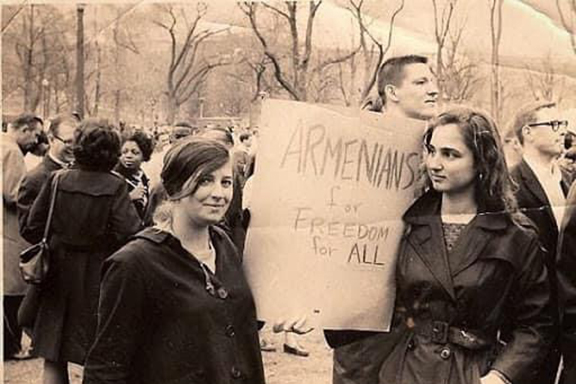ANCA activists attend a rally with Dr. Martin Luther King Jr.