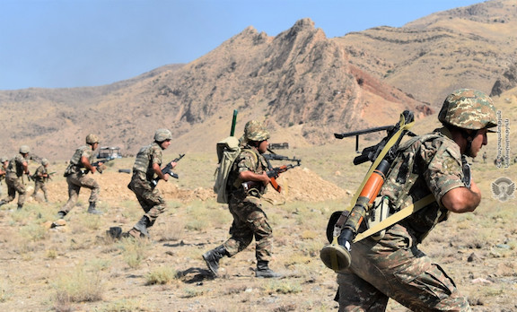 Soldiers of Armenia's Armed Forces during recent military drills