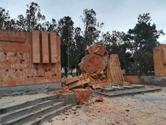 Azerbaijan's destruction of Armenian monuments after taking over Artsakh territory