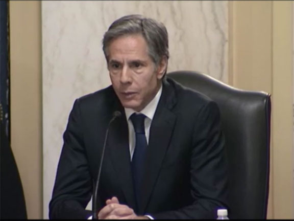 Secretary of State nominee Antony Blinken during his Senate Foreign Relations Committee confirmation hearing.