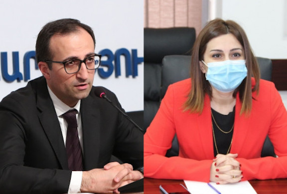 Outgoing health minister Arsen Torosyan and newly-appointed minister Anahit Avanesyan
