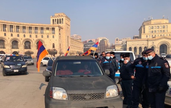 National Salvation Movement staged a protest car rally in Yerevan on Jan. 24
