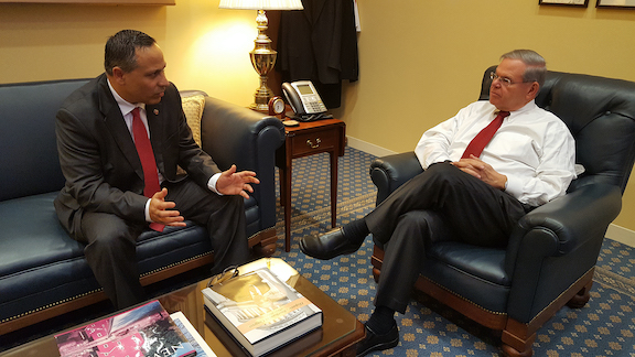 ANCA Chairman Raffi Hamparian meeting with incoming Senate Foreign Relations Committee Chairman Robert Menendez (D-NJ) regarding a broad range of Armenian American community priorities including U.S. aid to Artsakh, stronger ties with Armenia, and federal Armenian Genocide policy.