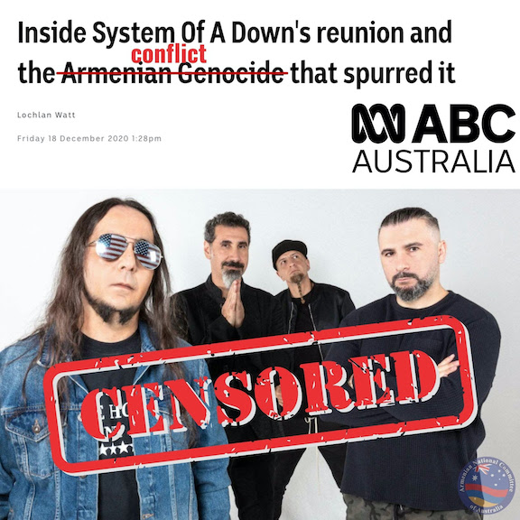 """Australian broadcaster ABC revised its original article to appease foreign interests by replacing the word """"Armenian Genocide"""" with """"conflict"""""""