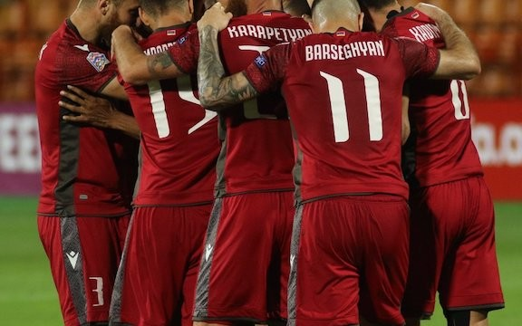 Armenia's National Soccer team members celebrate a goal on March 31.
