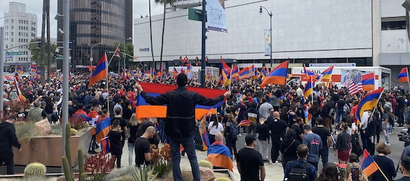 Armenian American community members and their allies gathered at the Turkish Consulate in Los Angeles