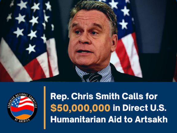 Rep. Chris Smith (R-NJ) is calling for $50 million in direct aid to Artsakh to help rebuild following the Turkey/Azerbaijan attacks.