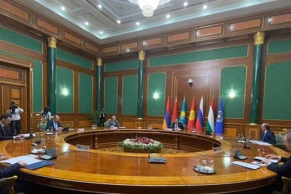 Armenia's Foreign Minister Ara Aivzayan speaks at the CSTO foreign ministers' council in Dushanbe, Tajikistan on May 19