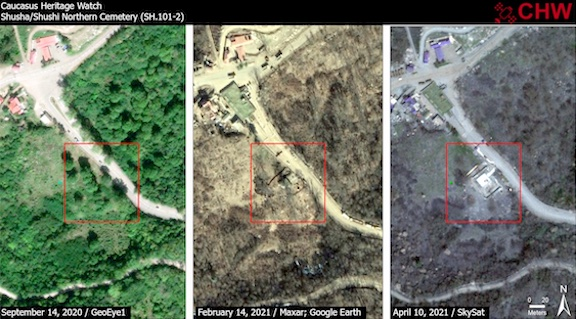 Caucasus Heritage Watch releases satellite images showing the destruction of an Armenian cemetery near Shushi