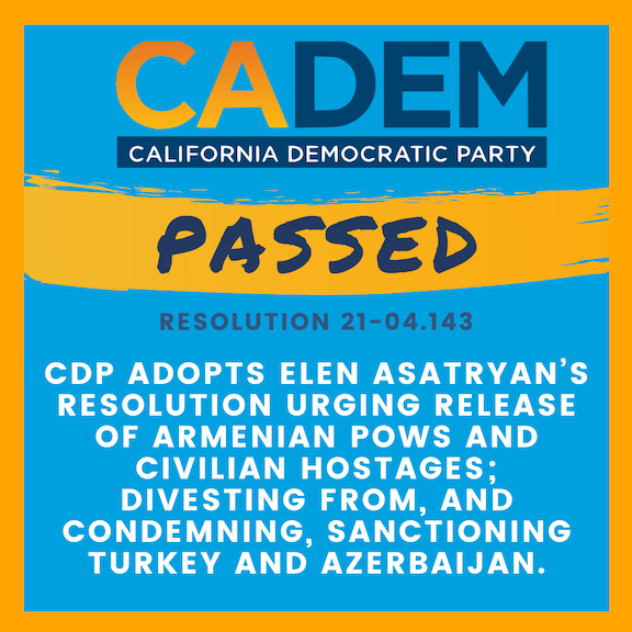 California Democratic Party passes resolution calling for release of Armenian POWs