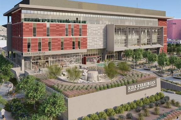 VIEW GALLERY: A rendered image of the Kirk Kerkorian School of Medicine at UNLV
