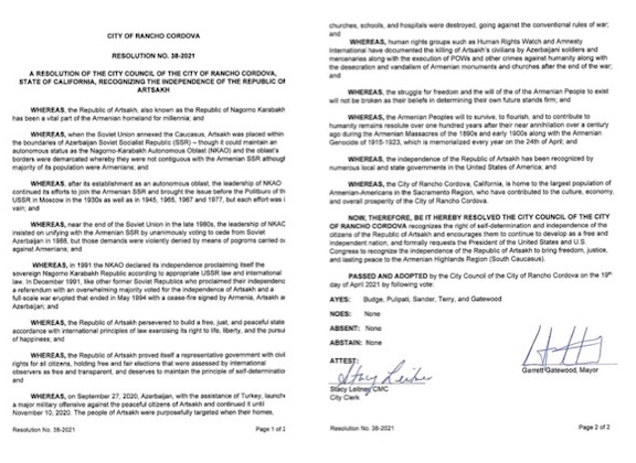 The resolution passed by Rancho Cordova City Council