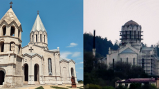 The Ghazanchetsots Cathedral in Shushi before (left), and after Azerbaijani occupation of the city