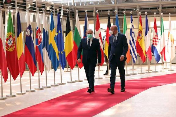 Council of Europe President Charles Michel welcomes Acting Prime Minister Nikol Pashinyan to Brussels on June 2