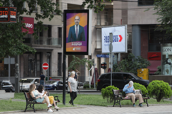 Pre-election posters and billboards of the alliances and parties participating in the snap elections in Armenia