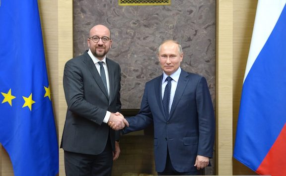 President Vladimir Putin of Russian (right) with the president of Council of Europe Charles Michel